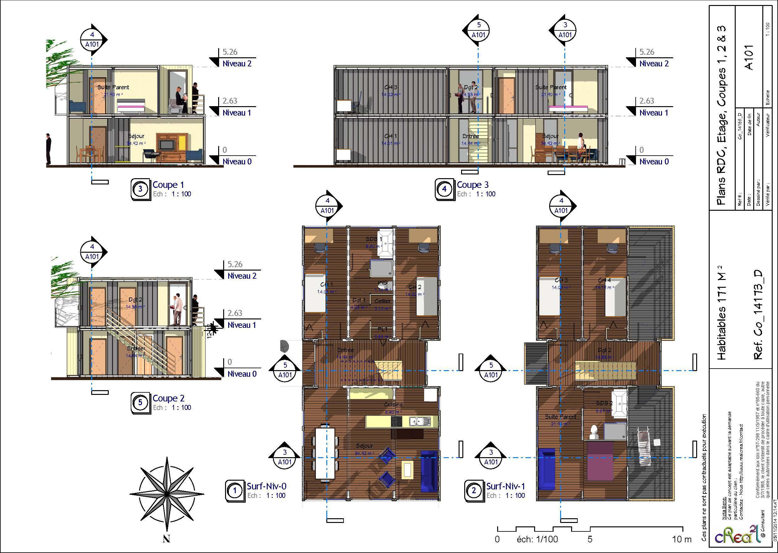 Séance 3- Solutions - Esquisses | Agencer un espace : Maison container